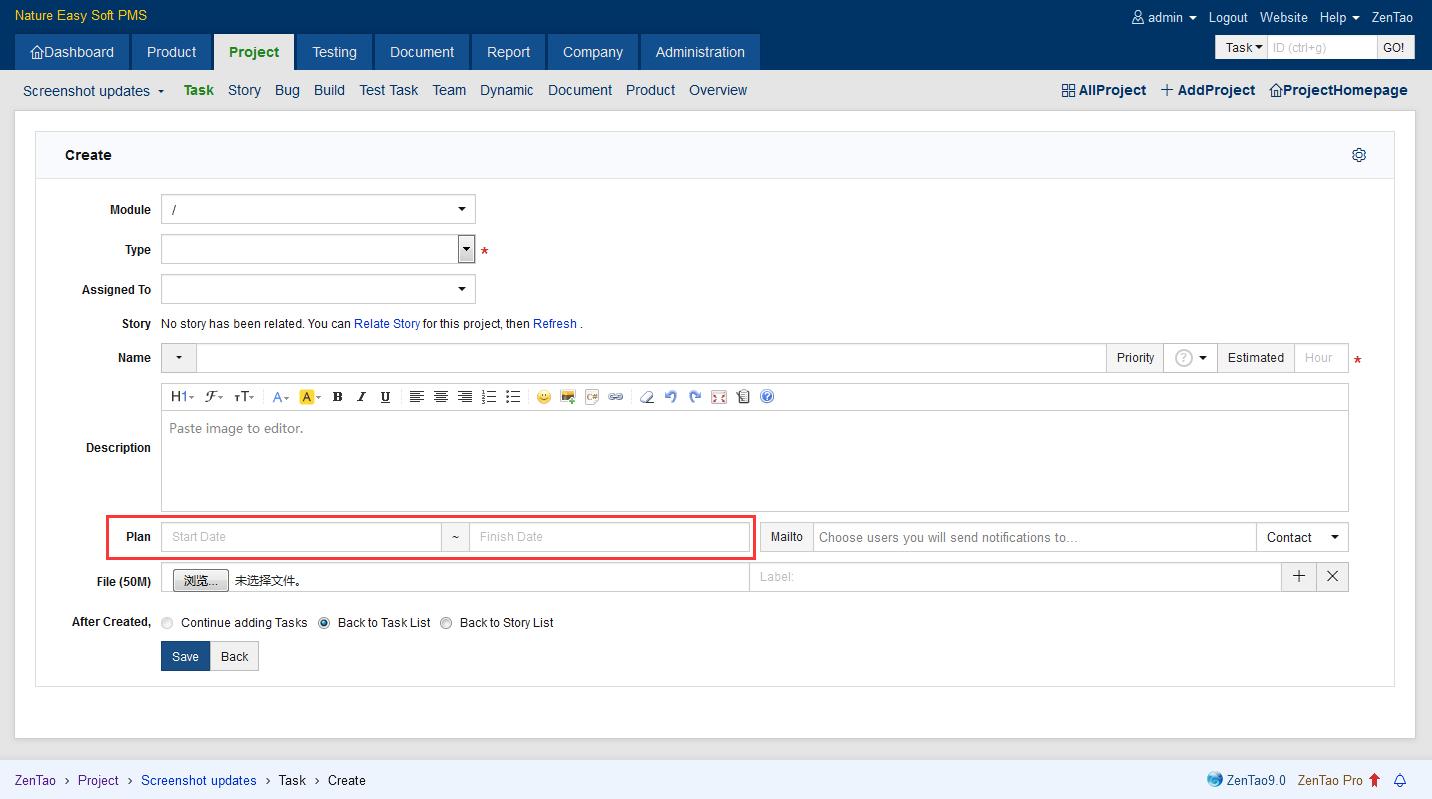 Gantt chart zentao pro manual zentao 1t up start and finish date when adding tasks nvjuhfo Image collections